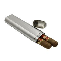 Wholesale JiuJiu Grade Stainless Steel Thickness Two Cigars Tube Box Frosted High Quality Portable Cigar Accessories and Gift