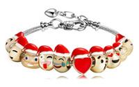 beaded chain enamels - 2017 Newest Design Christmas Jewelry Gift Metal Emoji Beads DIY Charms Bracelet Gold Expression Bangle Enamel Emoji Faces Bracelet