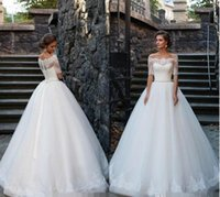 Wholesale 2016 Off Shoulder Vintage Ball Gowns Lace Wedding Dresses Half Long Sleeve Sheer Backless Bridal Gowns Beads Cheap Princess Wedding Dress