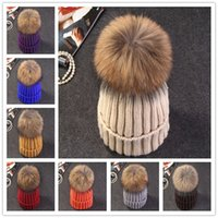 acrylic headdress - Fashion Classic Beanie Tight Knitted Hat With Fur Pom Poms Women Cap Winter Beanie Headgear Headdress Knitted Head Warmer Top Quality