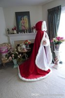 Wholesale New Arrival Cloak Wedding Bridal Wraps Winter Bridal Jackets Furs Warm High Quality Wine Red Color Long Sweep train Cape