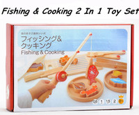 baby food fish - New Arrived Baby Toys Fishing Cooking In Montessori Set Wooden Toys Pretend Play Food Children Gift