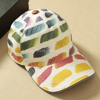 best paint brands - Italy Luxury Brand Designers Rainbow Graffiti Peaked Cap Chic Unisex Multicolored Hand Painted Print Canvas Visors Hat Best Gift