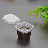 Wholesale 25ml disposable PP sauce cup tasting cup transparent hard plastic with cover connected