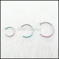 Wholesale mm mm mm Rainbow Titanium Anodized Stainless Steel Body Jewelry Hoop Nose Ring Nose Stud Nose Piercing