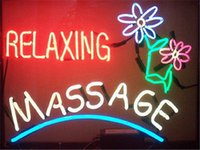 Wholesale 2016 LED Relaxing Massage Spa Real Glass Neon Light Signs Bar Pub Restaurant Billiards Shops Display Signboards quot x14 quot