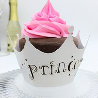 Wholesale Laser cut Princess Baby Shower Cupcake Wrappers Party Pearl Paper Cupcake Dress Cake Decoration Could be Customized