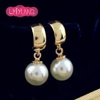 al por mayor 18k oro al por mayor de la joyería india-pendientes de perlas de alta calidad al por mayor femeninos-Nuevos chapada con los pendientes contra la alergia de 18 quilates de oro para las mujeres joyería fina De India