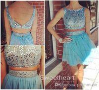 Wholesale Homecoming Dresses Charming Blue Chiffon Beading Rhinestone Short Prom Dress Party Dress New Arrival Detachable Mini Dress EM03182