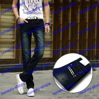 Wholesale Straight Youth Full Length Pants Men s Jeans Do Old White Embroider Zipper Fly Korean Edition Size Slim Skinny