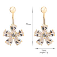 Wholesale Gold Plated Zircon Crystal Flower Belly Button Ring Body Jewelry Belly Navel Ring Piercing nombril Sexy Belly Percing