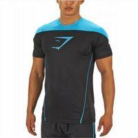 Wholesale Gymshark LEICA kompresi t shirt Gym laki laki binaraga dan kebugaran kemeja olahraga Pria pria otot