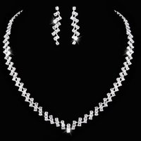 agate heart - 2016 New Fashion Silver Crystal Wedding Bridal Bridesmaid Jewelry Sets Alloy Necklace Earrings Jewelrys For Women Hot Sale