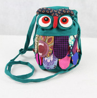 baby national - Factory Directly Selling Chinese Ethnic Character Cloth Handmade Preschool Baby Owl Colorful Stitch Preschool baby Owl Backpack Fashion Bag