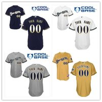 authentic brewers jerseys - Custom Milwaukee Brewers Gray White Black Yellow Pull Down Authentic Collection Personalized Baseball Jerseys Top Quality Customized