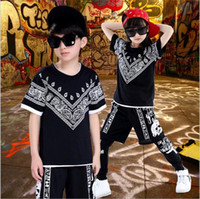 Wholesale 2016 summer outfits Fashion baby clothes kids dance clothes kids shorts sets Sequins decoration baby boys clothing