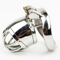 Wholesale Chastity Male Sounds - Stainless Steel Male Chastity Device Small Cock Cage With Removable Urethral Sounding Catheter SM Sex Toys For Men Chastity Belt