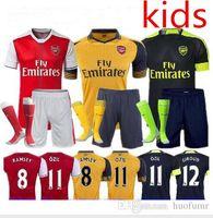 arsenal child - 16 Kids Jerseys Sets youth boys child kits OZIL WILSHERE RAMSEY ALEXIS GIROUD Arsenals Jerseys Kits Suit With Short Socks