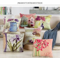 arts crafts textiles - Retro Hold Cotton Pillowcase Colour Flower Cushion Cover Home Decoration Products Textile Art Craft Sofa Car Spin Pillow Case