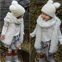 Wholesale Girls Cute Waistcoat Fleece Fur Vests European Boutique Sleeveless Coat Children Outwear Winter Coat Baby Clothes Kids Clothing