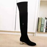 aa diamonds - genuine leather stretch thigh high diamond med heel boots black rhinestone fashion women winter vogue brand