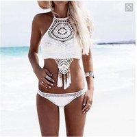 Wholesale 2016 New Unique Bikini Brazilian National Bohemia Crochet Bikini Bandeau Handmade Halter Hollow Out Micro Bikini Shorts Swimming Suit Women