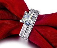 Wholesale 2CT Pure White Gold K Princess Cut Diamond Woman Engagement Ring With Band