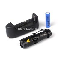 Wholesale SK68 CREE Q5 LM Zoomable Focus LED mini Flashlight Torch Battery Charger