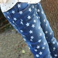 Wholesale 2016 autumn fashion baby boys girls jeans children denim pants pentagram printed kids trousers high quality years