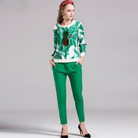 banana beads - New Arrival Autumn Women s O Neck Long Sleeves Banana Leaves Printed Sequined Blouse with Ankle Length Pants Runway Twinsets