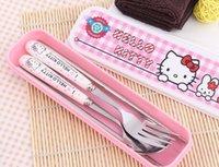 baby health kit - Kawaii Hello Kitty tableware porcelain Health Tableware set Lunch Kindergarten Baby Set spoon fork chopsticks with box