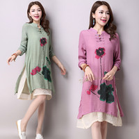 Wholesale new large size women fake two double thin long sleeved cotton shirt printing retro dress