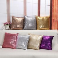 Wholesale 2016 Sequin Cushion Cover cm Multicolors Solid Color Glitter Sequins Sparkling Square Pillow Cover Home Textile Sofa Decor comfortable