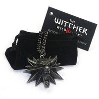 Wholesale Newest Hot The Witcher Wild Hunt Medallion Pendant Chain Necklace The Wild Hunt Figure Game Wolf Head Necklace With Bag Card