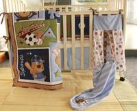 baseball blankets - 9Pcs Baby bedding set Embroidery bear baseball Crib bedding Cot bedding set Quilt Bumper Skirt Mattress Cover Urine bag blanket