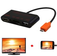 Cheap Wholesale-Micro USB Slimport Phone to HDMI TV HDTV Video Adapter USB OTG Card Reader For LG G4 G3 G2 Nexus 4 5 7 II E960 LG G Flex G Pad