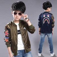 Wholesale Children boys shark printing tops cotton long sleeve coat kids cartoon casual jacket Outwear Baby Clothing C1221