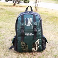 attack body - Anime Attack on Titan wings Printing Pattern PU Waterproof Backpack Laptop Computer anti knock Bag Dark Green Schoolbag Perfect Gift