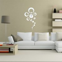 Cheap Hot sales High Quality DIY Home Decorative Clock Ring Circle Reflection Mirror Wall Clock Watch Silver