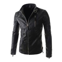 Wholesale Fall Motorcycle Leather Jackets Men Autumn Winter Leather Clothing Men Leather Jacket Stand Collar Male Business casual Coats