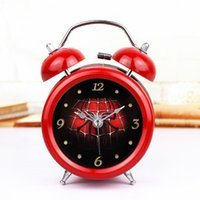Wholesale Amazing Spider Man movie hero fashion creative D stereo metal bell alarm clock bedside table watches home decor