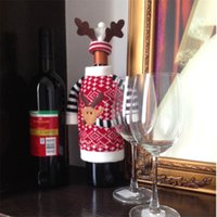 antler decor - 1 Set Cute Sweater Red Wine Covers Christams Gift Wine Bottle Decoration Clothes with Hats Antler for Home Decors Fast Delivery