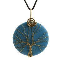 lots of turquoise jewelry - New Tree of Life copper wire wrapped Turquoise pendant wire wrap Tree Natural stone pendant necklace Fashion Jewelry necklaces