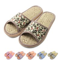 adhesive floor mats - New Factory Direct Price Lovers Sandals Summer Small Broken Flower Flax Straw Mat Slippers Occupy Home Woman Man Shoes