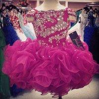 achat en gros de robes pageant filles glitz courte-Cupcake Flower Girls Robes Cristaux Petite fille Little Girl's Pageant Infants Enfants Formal Wear 2015 Cheap Glitz Dark Fuchsia Ball Gowns