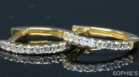 genuine diamond earrings - Genuine Round Cut Diamond Hoop Earrings Pave Set In Solid K Yellow Gold