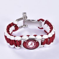 alabama ncaa - Alabama Crimson Tide Custom Paracord Bracelet NCAA College Football Charm Bracelet Survival Bracelet