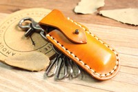 Wholesale Hot Sale New Special Vintage retro handmade genuine cowhide leather keyring case holder Creative lighter case holder Fashion accessories