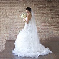 Wholesale Cascading Ruffles Wedding Dresses Beads Crystals Wedding Gowns Sweetheart Sweep Train Mermaid Lace Appliques Tiered Skirts Bridal Dress