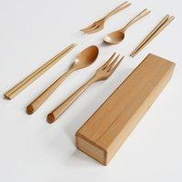 Wholesale Portable Wood Flatware Sets Spoon Chopsticks Fork Box Four piece Large Size Spoon cm MOQ sets